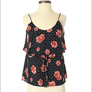 Audrey 3+1 Floral & Polka Dot Sleeveless Blouse